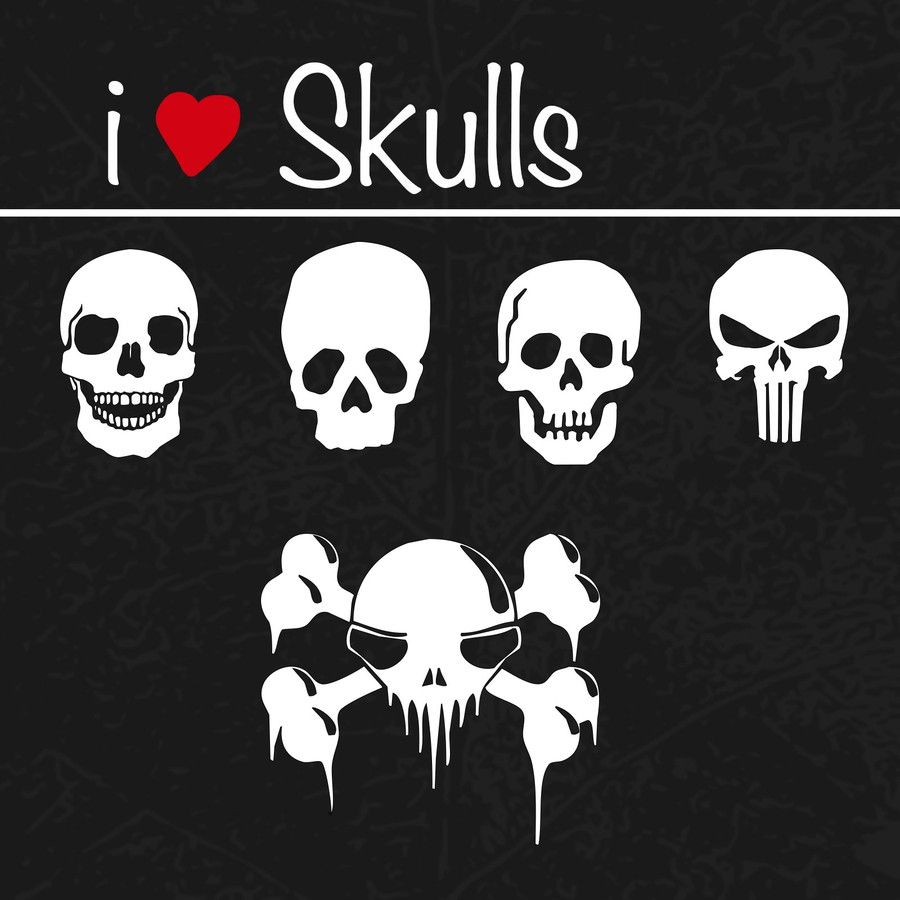 Photoshop custom shapes skulls