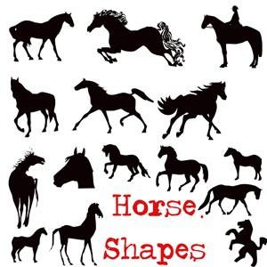 Photoshop custom shapes  horses