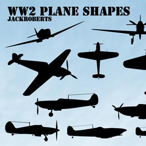 Photoshop custom shapes airplanes, collection, war