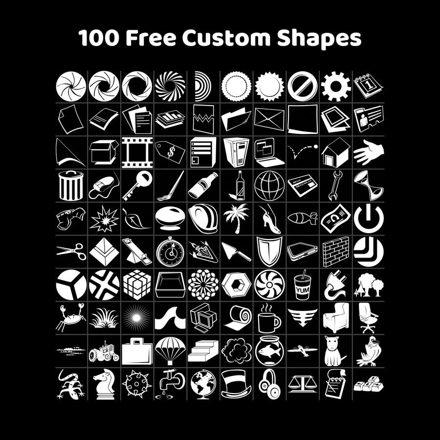 Photoshop custom shapes symbols, icons