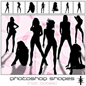 Photoshop custom shapes woman, silhouettes