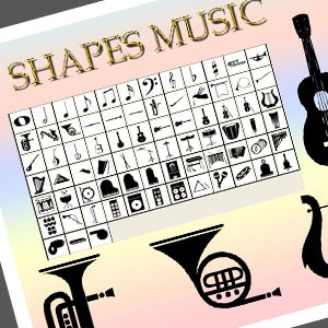 Photoshop custom shapes music, musical, instruments