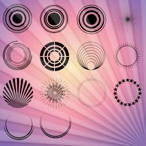Photoshop custom shapes round, shapes, rings