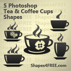 Photoshop custom shapes coffee cups