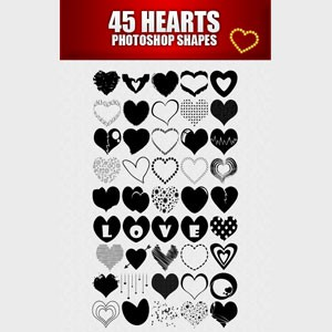 Photoshop custom shapes hearts, collection