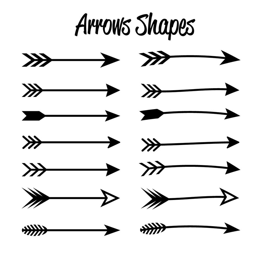 Photoshop custom shapes arrow, symbol