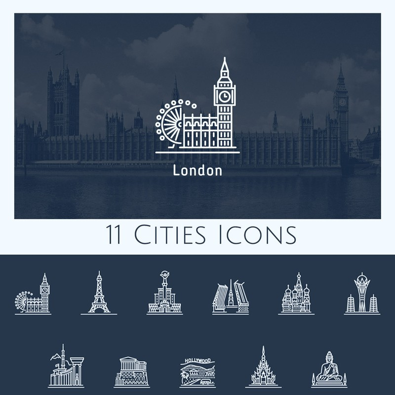 Photoshop custom shapes cities, icons