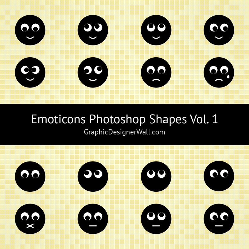 Photoshop custom shapes emodicons, faces