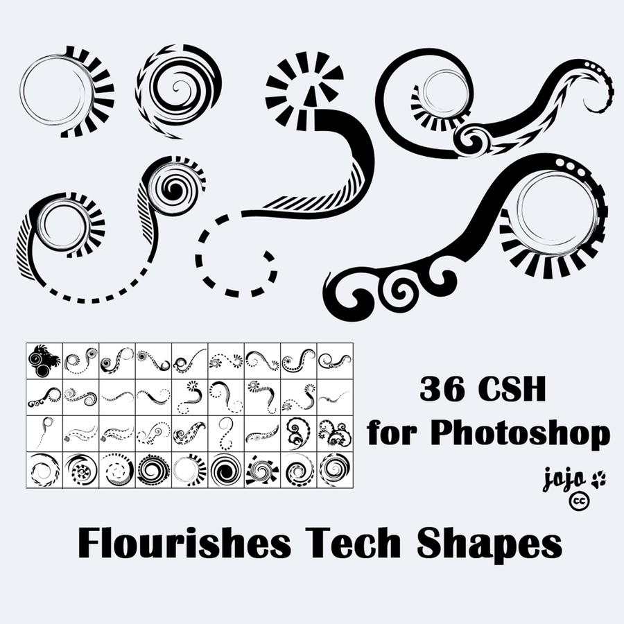 Photoshop custom shapes flourishes, swirls