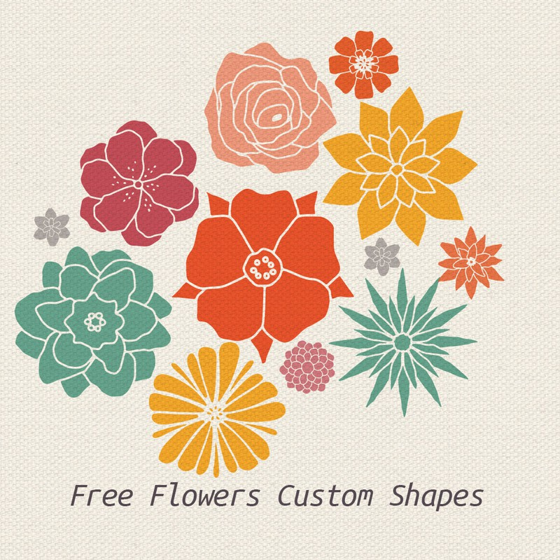 Photoshop custom shapes flowers