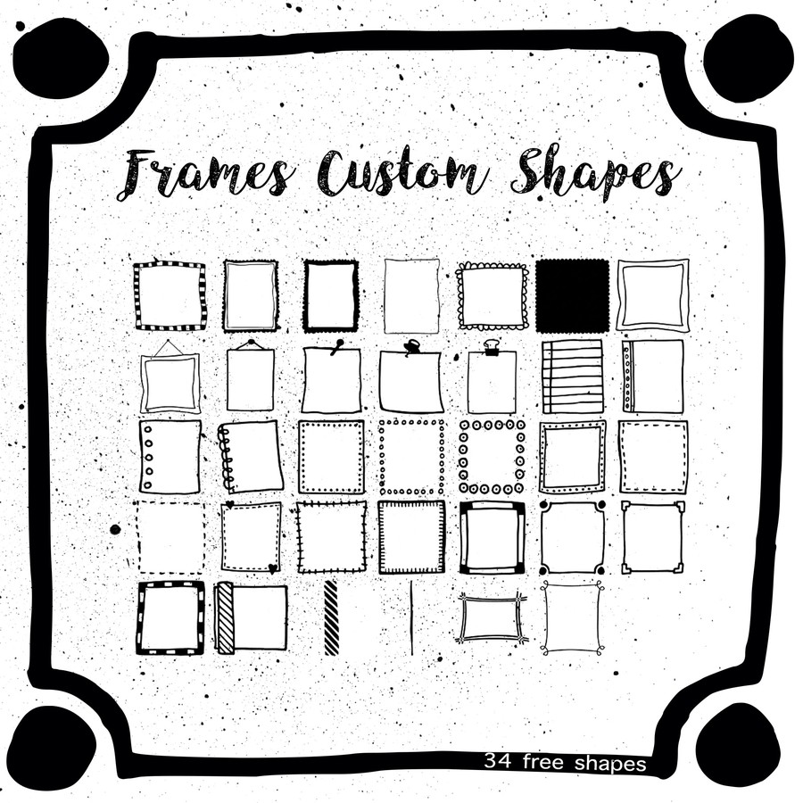 Photoshop custom shapes frame, retro