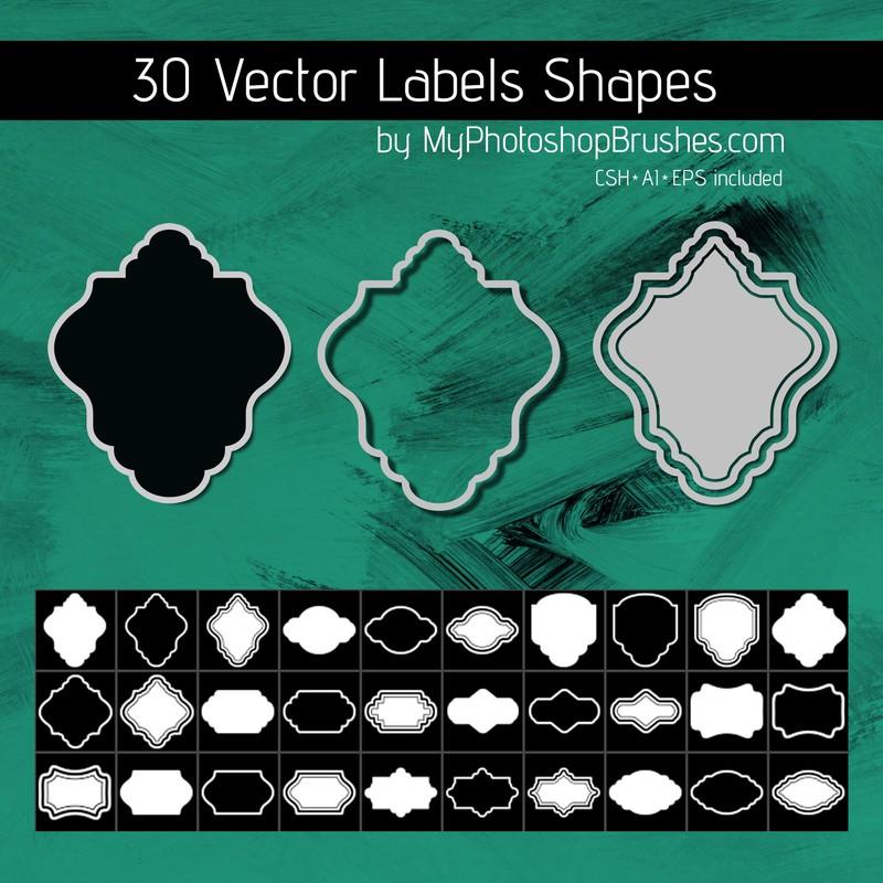 Photoshop custom shapes label, set