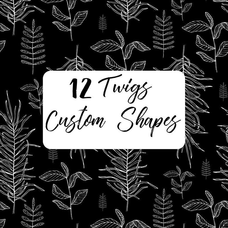Photoshop custom shapes leaves, twigs
