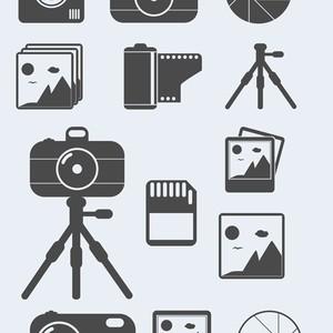 Photography Themed Shapes, Camera Tripod, Memory Card