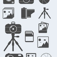 Photography Themed Shapes, Camera Tripod, Memory Card