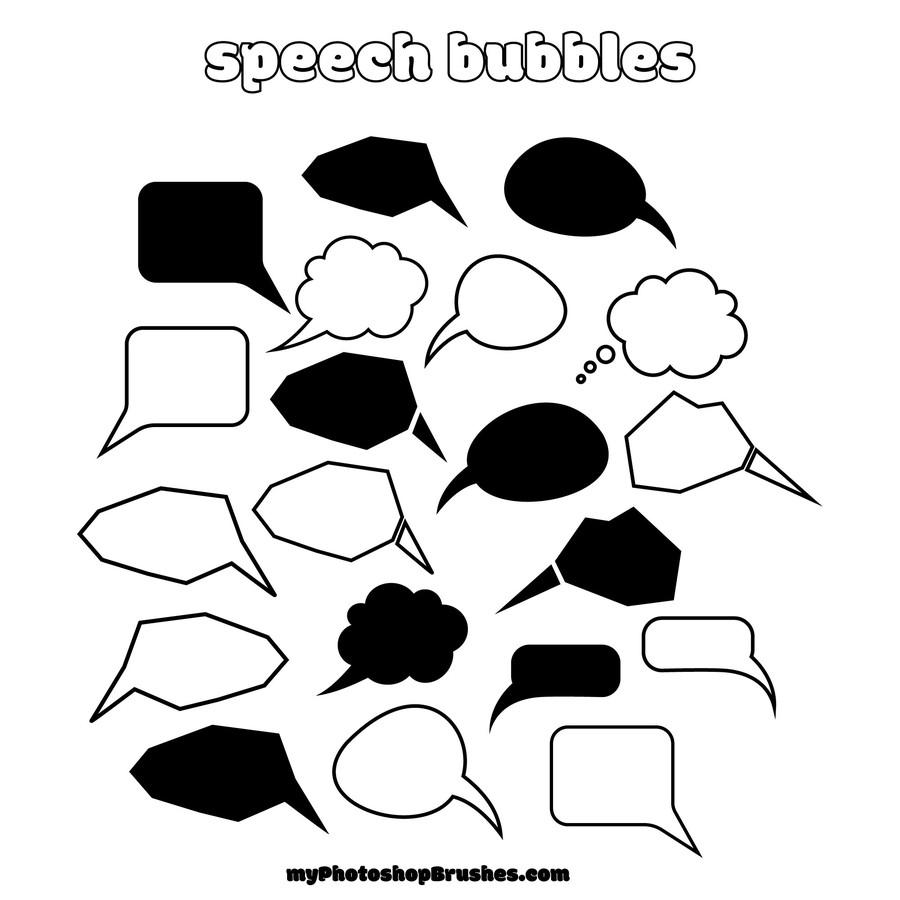 Photoshop custom shapes speech bubbles