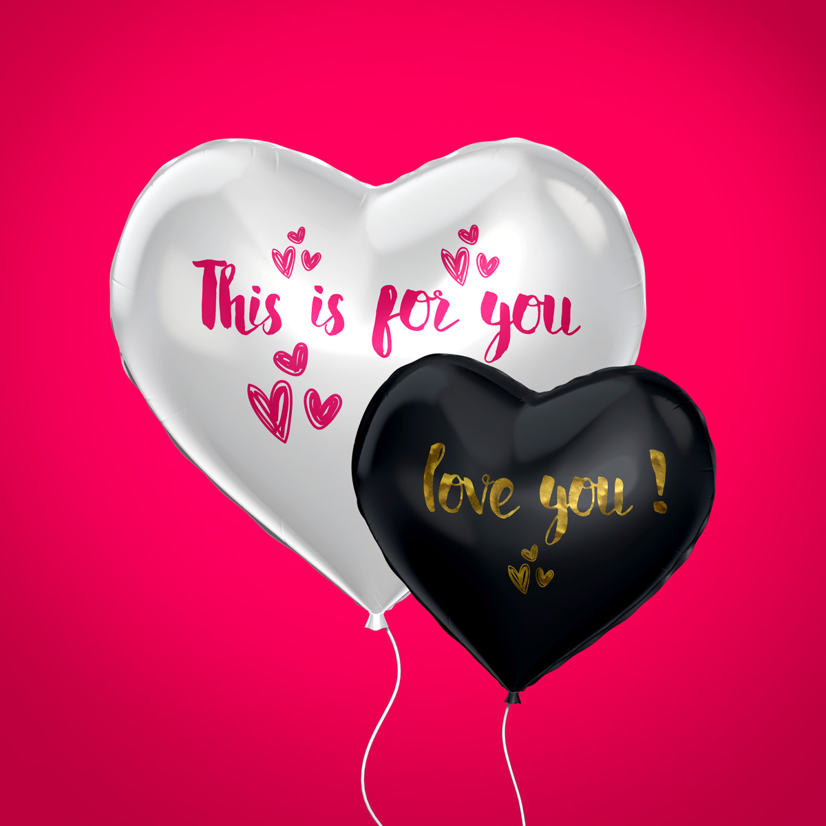 Two Heart Balloons - Photoshop psd
