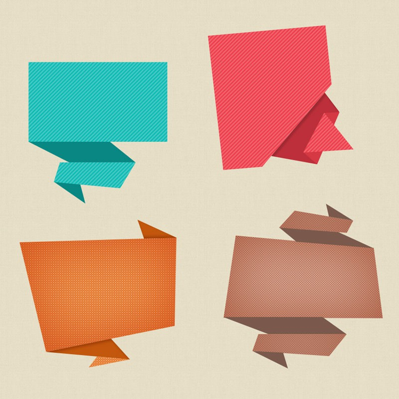 Photoshop psd origami speech