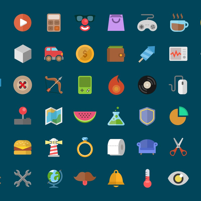 Photoshop psd flat, icons