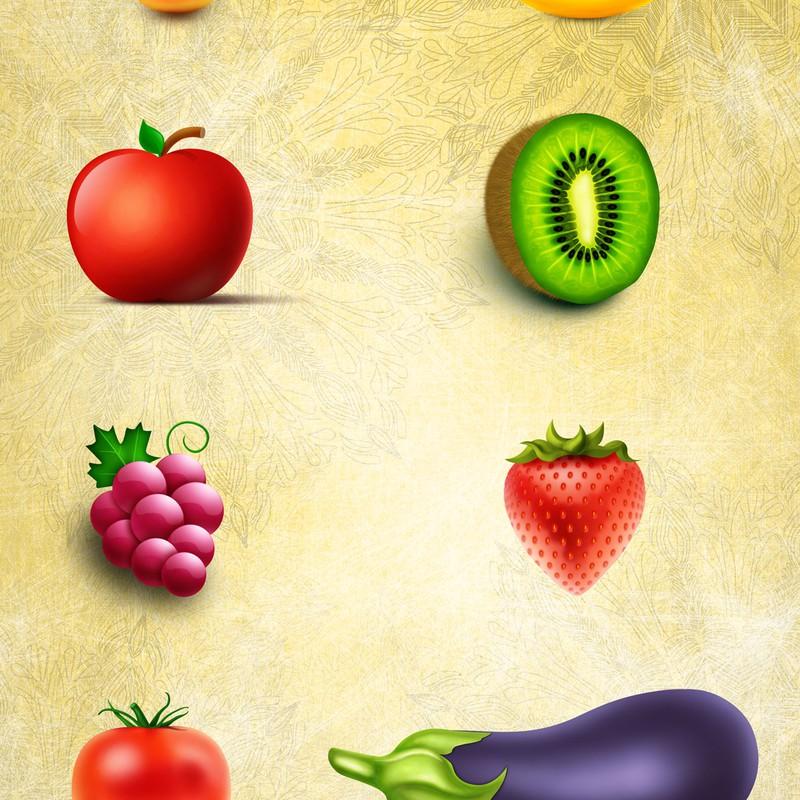 Photoshop psd fruits, set