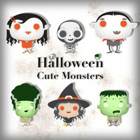 Halloween Cute Monsters PSD Icons