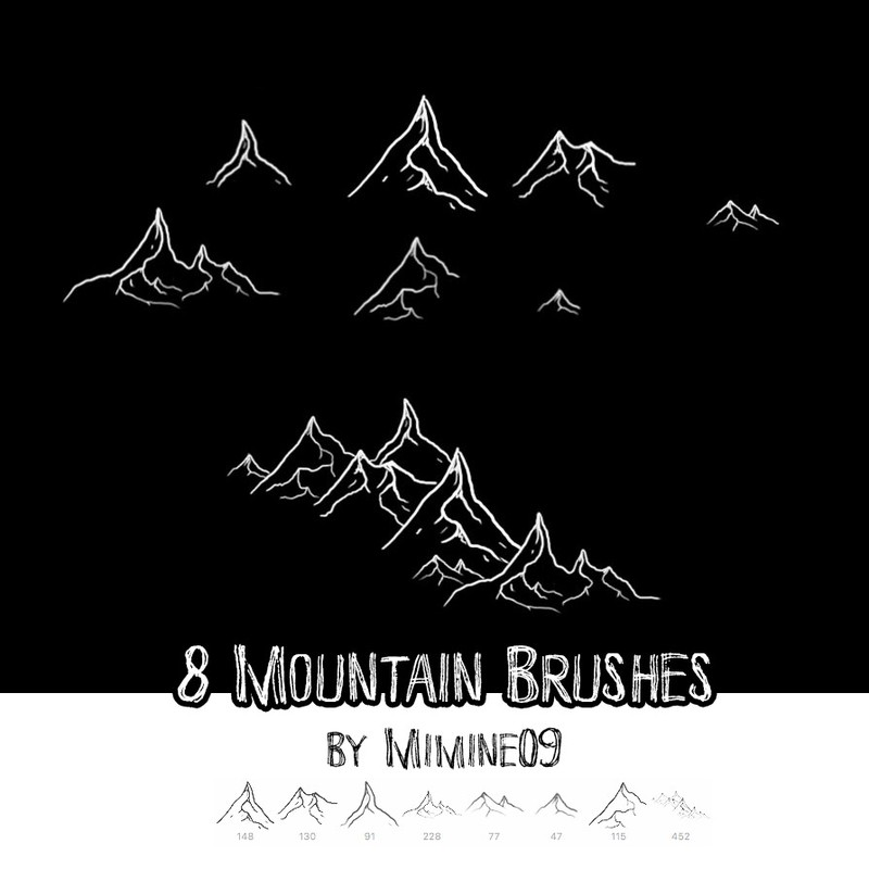 Photoshop brushes mountains, peak, map