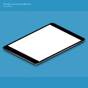 iPad Mini Mock-up - Isometric PSD
