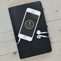 iPhone Mockup with White Headphones