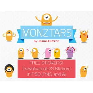 23 Monztars Stickers free PSD