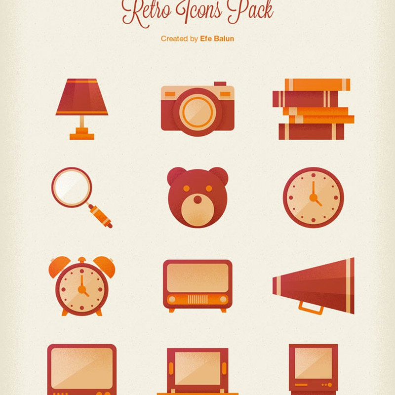 Photoshop psd retro, icons