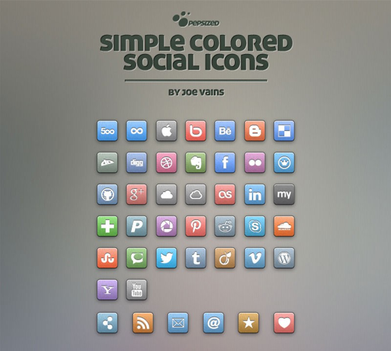 Photoshop psd social icons