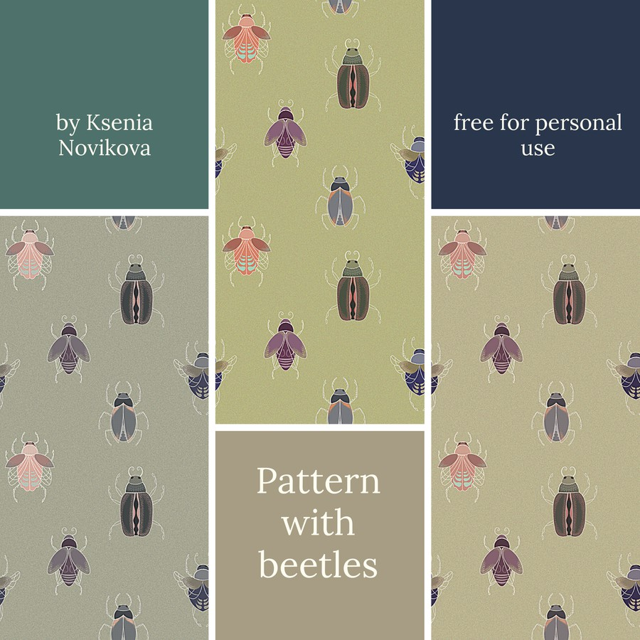 Photoshop patterns beetles, insects, seamless
