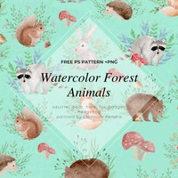 Watercolor Forest Animals Photoshop Pattern