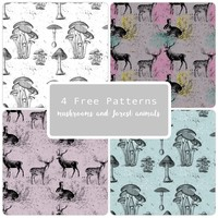 4 Free Patterns Mushrooms and Forest Animals