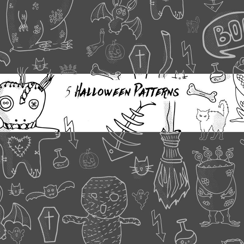 Photoshop patterns Halloween, set