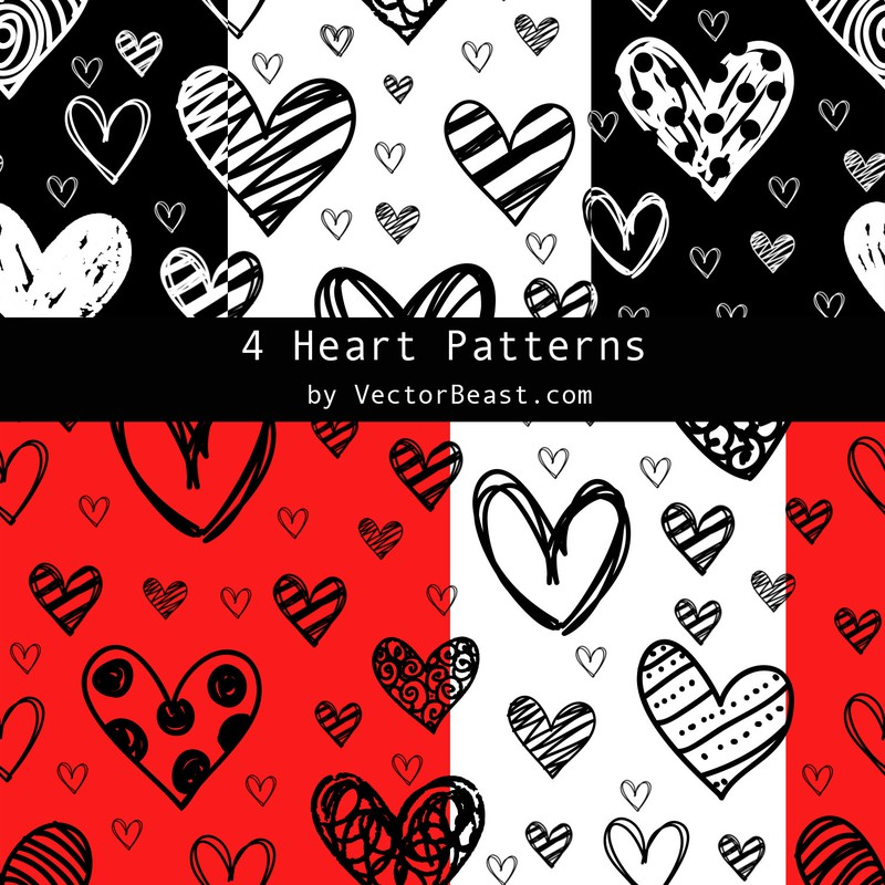 Photoshop patterns love, heart