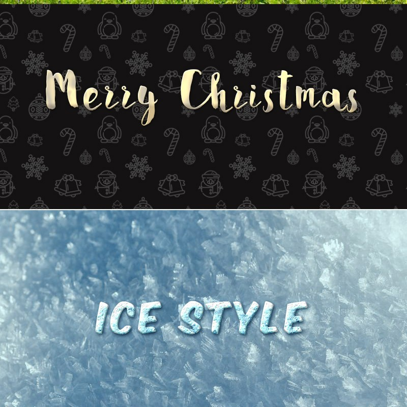 Photoshop styles and gradients Christmas, candy, text
