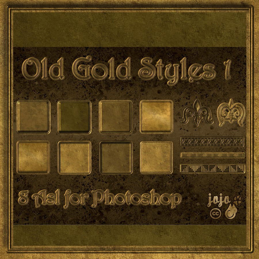 Photoshop styles and gradients elegant, gold, old