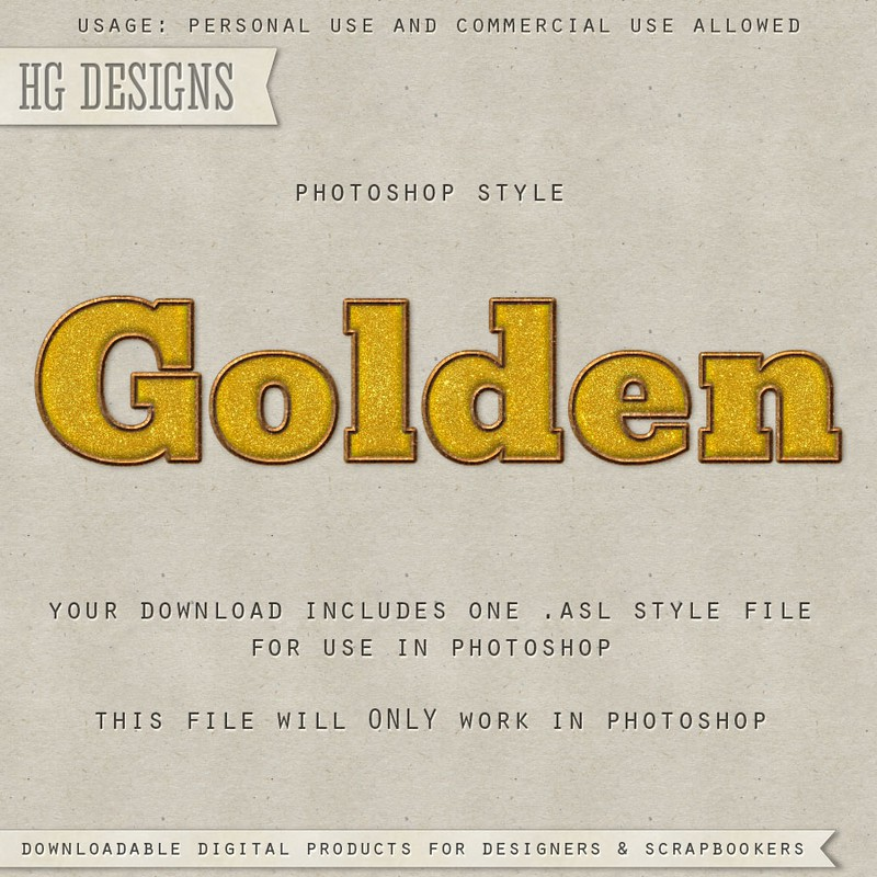 Photoshop styles and gradients gold text